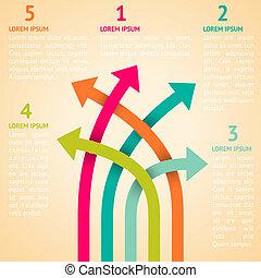 Five retro different way infographics. Vector illustration