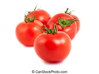 Five ripe tomatoes on white background