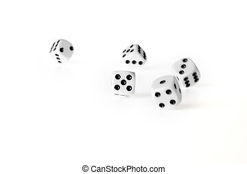 dices - Five rolling dices, isolated on a white background