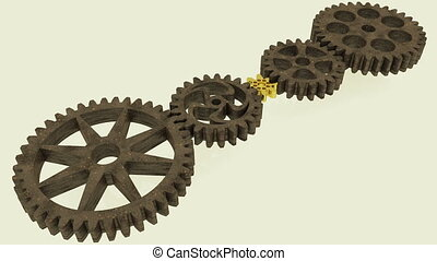 Five rotating gears