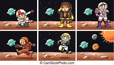 Five scenes with astronauts in space