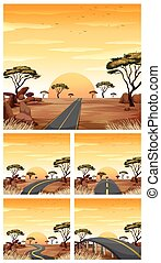 Five scenes with roads in savanna field