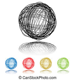 five scribble - Scribble ball with five color variations and...