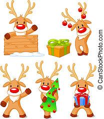 Five separately grouped little reindeer. Vector illustration
