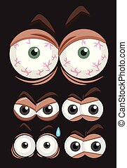 Five set of eyes with different expressions