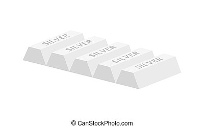 five silver ingots - Five silver ingots isolated on white...