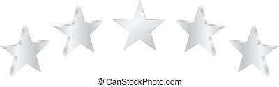 Five Silver Stars Product Quality Vector Illustration