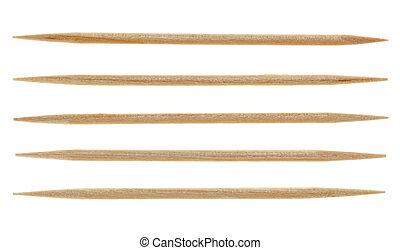 Five single toothpicks, isolated on white - Five single...