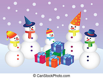 five snowmen standing around boxes with presents