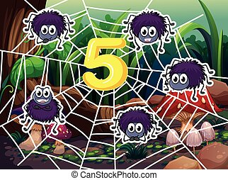 Five spiders around number 5