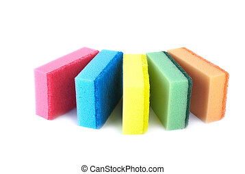 Five sponges of different colors isolated on the white ...