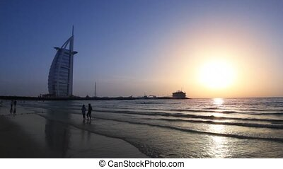 five-star, 결합되는, 호텔, 알루미늄, burj, arab, emirates., arab,...
