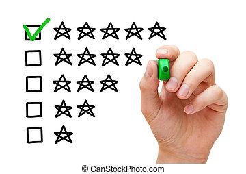 Hand putting check mark with green marker on five star rating.