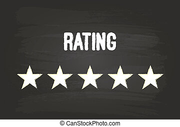 Five Star Rating On Blackboard With White Chalk