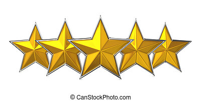 Five Star Reward Cocept. - Five Golden Stars Isolated on...
