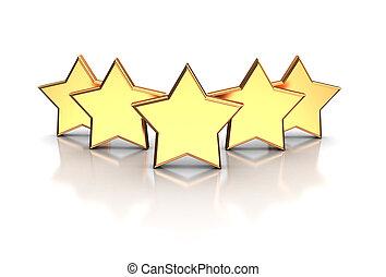Five stars - 3d illustration of golden five stars isolated...