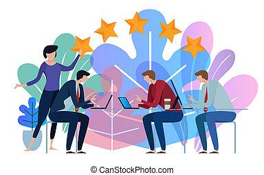 Five stars business team working talking together at big conference desk. Illustration on white background.
