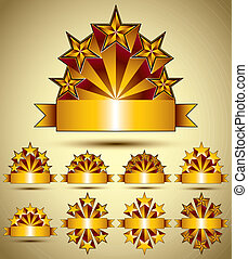Five stars classic style blank golden banners set, vector collec
