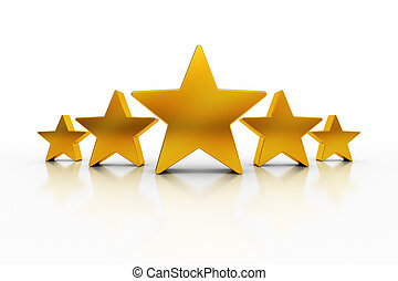 Five Stars Excellence - Five golden stars over white ...