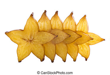 five stars of carambola, sliced on white background.