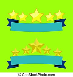 Five stars on blue Ribbon flat design with light green background