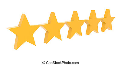 Five stars rating. Concept 3D illustration.