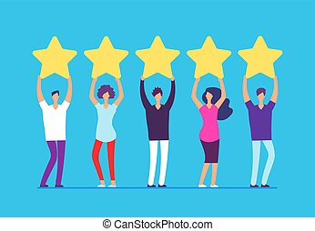 Five stars rating concept. Positive customer review feedback. People with gold stars in hands. Business vector background