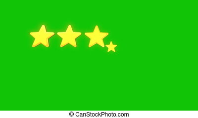 Five Stars Rating isolated on green screen and alpha matte background. 5 yellow golden icons appear in turn. Video animation in Ultra HD 4k for award, voting or ranking with copy space at bottom.