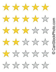 Five stars ratings on white