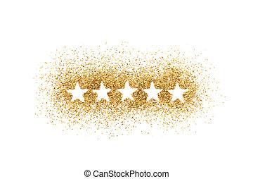 Five stars shape on golden glitter over white background