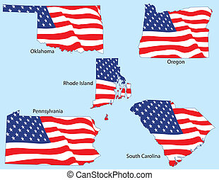 Five States with Flags - Oklahoma, Oregon, Rhode Island,...