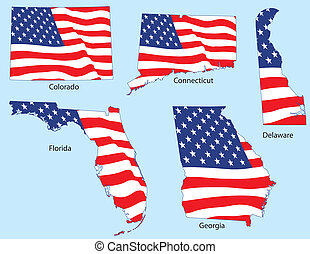 Five States with Flags - Connecticut, Colorado, Delaware,...