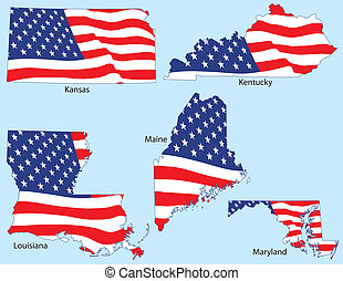 Kansas, Kentucky, Louisiana, Maine and Maryland outlines with flags, each individually grouped