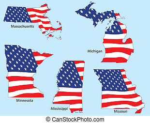 Five States with Flags - Massachusetts, Michigan, Minnesota...
