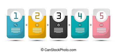 Five Steps Infographic Layout. Paper Labels Set with Numbers and Sample Text Isolated on White Background. Website Elements Infographics. Data Flow Chart.