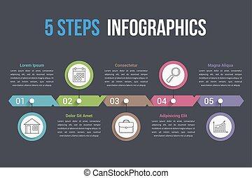 Five Steps Infographics - Five steps infographic template,...