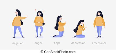 Five steps of grief illustration. Girl at beginning denies ...
