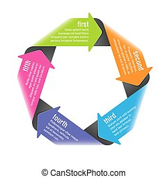 Five steps process arrows