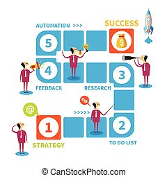 Five steps to success vector concept in flat style
