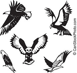 Five stylized birds of prey