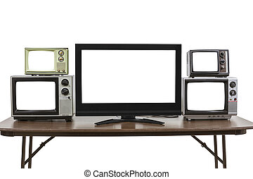 Five Televisions on Table Isolated on White