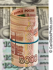 Five thousand Russian rubles for dollars background