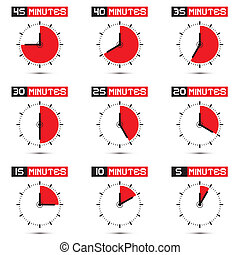 Five to Forty Five Minutes Stop Watch Illustration - Five to...