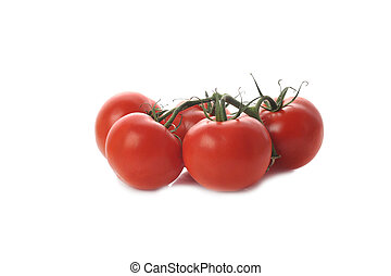 five tomato twig isolated on white