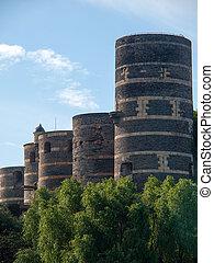 Five towers and drawbridge of the Angevine castle.