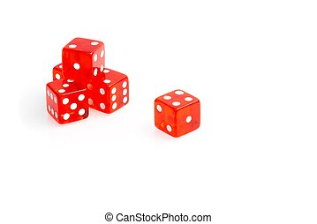 five transparent red dice