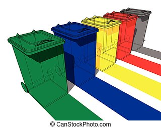 Five trash cans