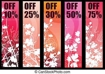 Five vertical floral banners with silhouette branches