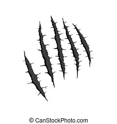 Five vertical trace of monster claw - Vector black five...