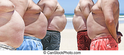 Five very obese fat men on the beach - Five obesely fat men ...